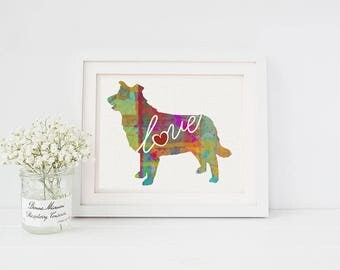 Border Collie Love - A Colorful Watercolor Style Gift for Dog Lovers - Home Decor Dog Breed Wall Art Print That Can be Customized With Name