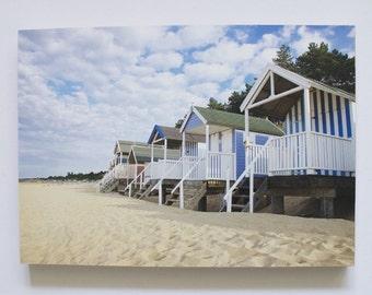 Beach huts photo print mounted on wood. A4