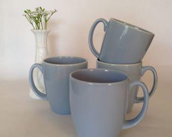 Vintage Corelle Stoneware Mugs Blue Set of Four