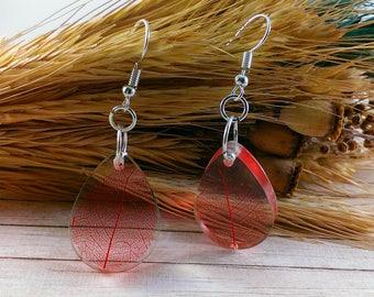 Natural jewelry Fall leaf jewelry Wedding earrings Crystal earrings Tear drop earrings Red earrings Wedding jewelry Bridesmaid earrings