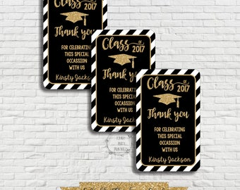 Graduation Thank you Cards, Thank you Tags, Black and Gold Graduation Thank you Tags, Editable, Instant download