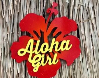 Aloha Girl Hibiscus Sign