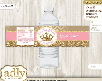 Royal Princess Baby Shower Water Bottle Wrappers, water Label, - it's a Royal pink gold, Glitter - aa109bsP5