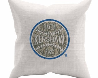 Clayton Kershaw Camo B Los Angeles D Decorative Pillow MLBPA Officially Licensed