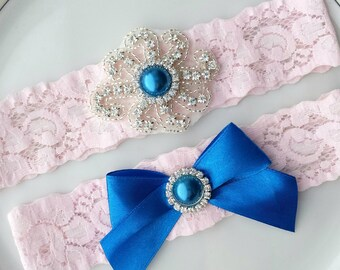 Rhinestone Garter Set, Pink, Blue, Silver Bead Applique, Wedding Bridal Garter Belt, Custom Stretch Lace, Brooch, Toss, Keepsake, Prom