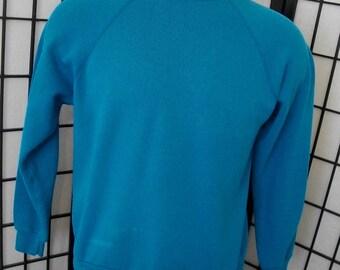 Vintage Tultex aqua blue raglan sweatshirt adult medium m 50/50 Made in the USA