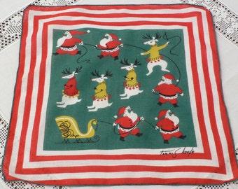 Tammis Keefe Christmas Hanky, Santa and Reindeer Hankie
