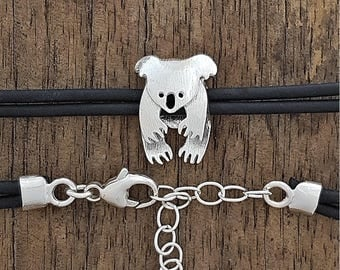 Koala bracelet Sterling silver on rubber