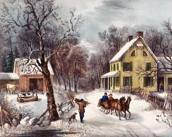 Winter Scene Snow 8x10 Art Print Painting INSTANT DOWNLOAD digital vintage Currier Printable