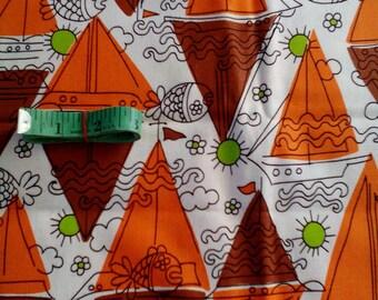 Vintage Mod Sail Boat Fabric 2.5 Yard Unused