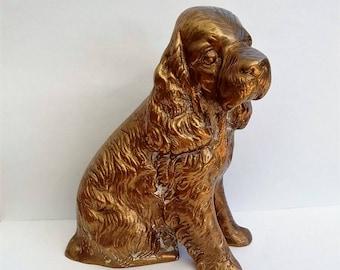 Large brass dog doorstop figurine paperweight
