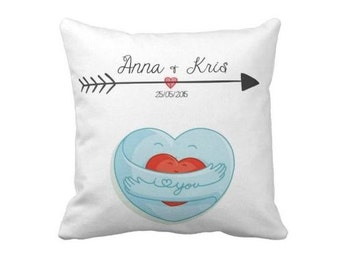 Personalized Valentines Pillow, Wedding Gift, Personalized Pillow, Name Pillow, Anniversary Gift, Gift for Valentines day, Wedding Pillow