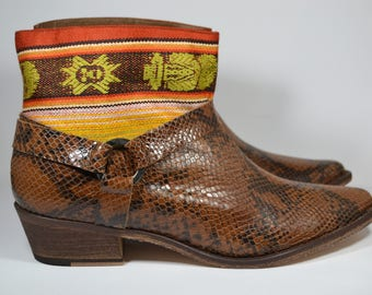 LEATHER ETHNIC BOOTS, Size 40, Brown Boots, Ethnic Boots, Spanish Boots