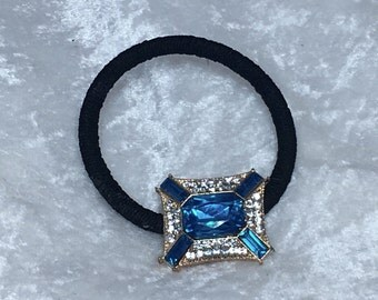 Facetted Blue Crystal Hairband,  Ponytail Holder, Hair Elastic