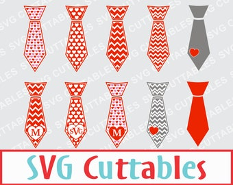 Valentines Day Tie Vector set of 10, SVG Digital Cut File