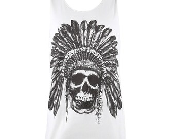 Chief Indian Skull White T Shirt Tank Tops Men Women M