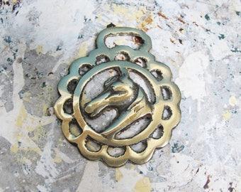 Vintage horse brass. Horse head.