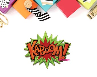 KABOOM! Comic Cartoon Word New Sew on / Iron On Patch Embroidered Applique Size 10cm.x8.2cm.