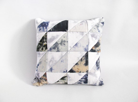 Blue Triangles Patchwork Pillow