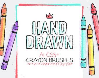 Crayon brushes for Adobe Illustrator CS5 or higher