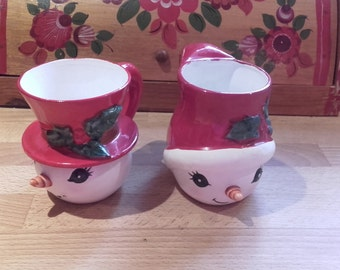 Vintage 1950's Lefton China Snowman Snow girl Mugs