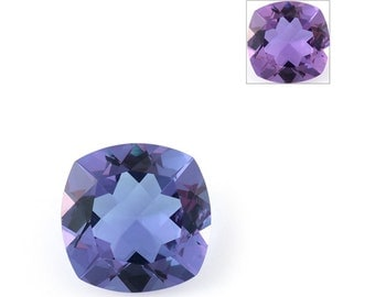 Lavender Alexite Synthetic Color Change Loose Gemstone Cushion Cut 1A Quality 12mm TGW 4.75 cts.