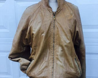 Leather Bomber, Brown leather jacket, vintage leather jacket, mens leather jacket, mens leather, tan leather, Mens size 50, Gruno et Chardin