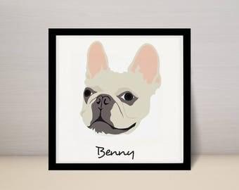 "10"" x 10"" Custom Pet Portrait Illustration, Dog Portrait, 10x10 print"