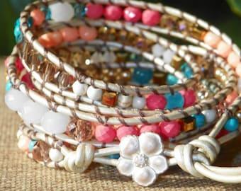Beach Vibes - Beaded Leather Wrap Bracelet