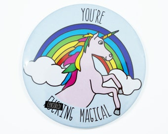 Unicorn Pocket Mirror ∙ Compact Mirror ∙ Stocking Stuffer ∙ Stocking Filler ∙ Funny Gift ∙ Unicorn Gift ∙ You're F**cking Magical