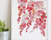 Hand-painted Watercolor Print - Pink Wisteria: A Bright Floral Print with Modern Watercolor Florals