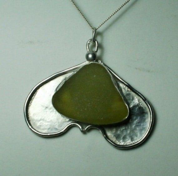 MOTH - Sea Glass Pendant