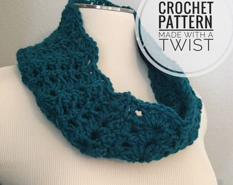 Lightweight Lace Cowl CROCHET PATTERN - Spring Cowl Pattern - Crochet Lace Cowl - Lacy Cowl Crochet Pattern - Lightweight Cowl Pattern