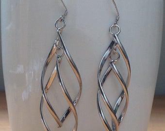 Silver leaf/ tassel swirl earrings