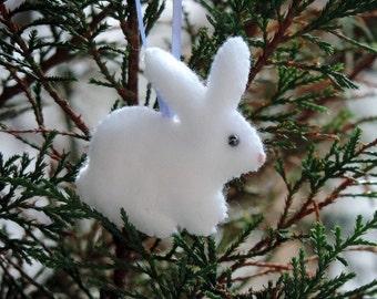 Bunny Ornament Plush Felt Bunny Felt Ornament Easter Ornament Easter Bunny Spring Ornament Felt Bunny Rabbit Little White Bunny Easter Decor