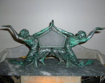French large Art Deco onyx spelter verdigris figural nude dancing lady lamp circa 1920s