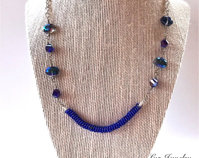 Dark blue Necklace, Blue cobalt necklace, Blue Statement Necklace, blue coil necklace, blue unique necklace
