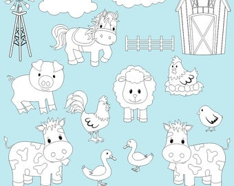 Farm Digital Stamps, Barnyard Digital Stamps, Digi Stamps, Barnyard Clipart, Farm Clipart, Printable, Commercial Use