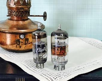 Vintage Radio Tubes Vacuum Tubes Set of Two Steampunk GE EICO