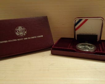 1988 Olympic Silver Dollar  Proof Set,United States Mint Commemorative Coin,Modern Commemorative,Coin Collection,Silver Collection