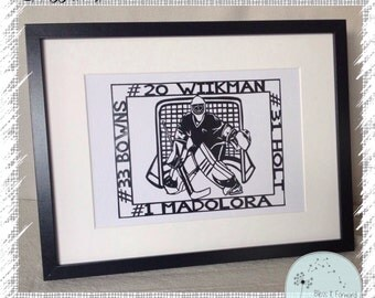 Ice Hockey Framed Design - Handcut Papercut | Ice Hockey Player Gift | Ice Hockey Fan Gift | Ice Hockey Art | Birthday gift | Christmas Gift