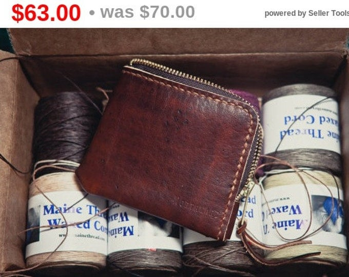 Hand-dyed Horween Leather Mini Zip Wallet / Small leather wallet/Horween Leather Wallet/ Zip wallet/Leather Card holder/Men's Leather Wallet