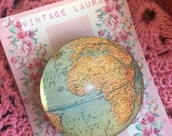 Wooden laser cut vintage 1930's world globe brooch, handmade by Vintage Laura xx