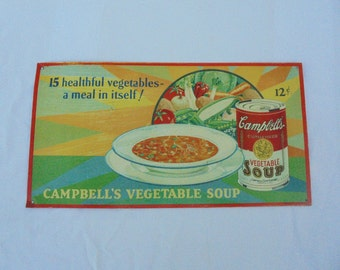 Campbell's Soup Sign, Metal Advertising Sign, Vegetable Soup Sign,Retro Kitchen Decor, Mid Century Kitchen Decor,Retro Home Decor