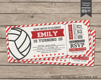 Volleyball Invitations, Volleyball Birthday Invitations, Volleyball Ticket, Volleyball Party Invitations  - Instant Download Editable PDF