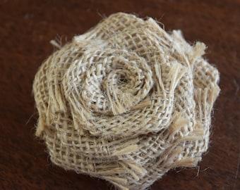 "Natural Burlap 2.5"" Rolled Rose, Burlap Rosette, Wholesale Flower, Headband Rose Buds, Floral Embellishment"