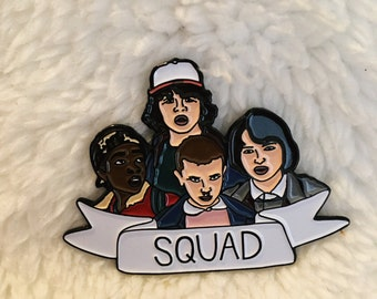 "Sale! ""Stranger Things Squad"" Enamel Pin, Pins, Flair, Pin, Stranger Things, Rubber Pin Back,"