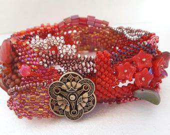 Scarlet Red Beaded Cuff Bracelet, Beaded Bracelet Freeform Beading, Statement Cuff Bracelet