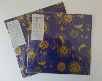"""2 Packs x 2 Sheets 20"""" x 30"""" Sun Star Moon Constellation Blue Gold - Any Occasion - Gift Wrap NIP"""