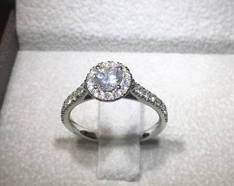 Diamond Engagement Ring 0.5 Carat Halo Ring, Halo Diamond Ring 14k White Gold Ring, Diamond Gold Ring, Engagement Accessory FREE SHIPPING
